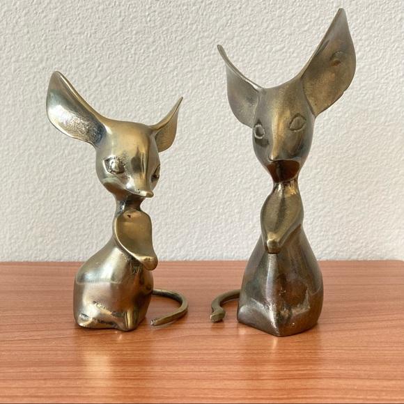 Vintage Brass Mice set of Two